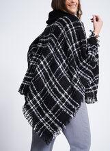 Cowl Neck Plaid Poncho, Black, hi-res