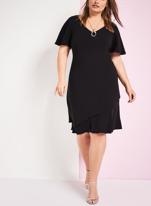 V-Neck Stretch Crepe Dress, Black, hi-res
