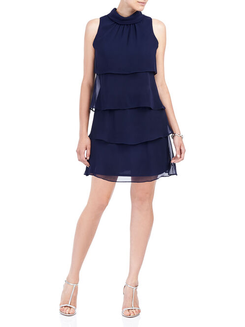 Tiered Chiffon Mock Neck Dress, Blue, hi-res