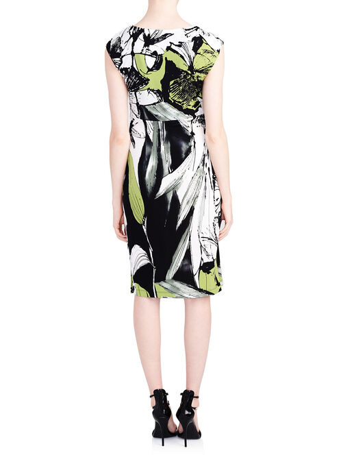 Abstract Flower Print Draped Front Dress, Black, hi-res