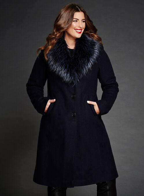 Faux Fur Collar Wool Like Coat, Blue, hi-res