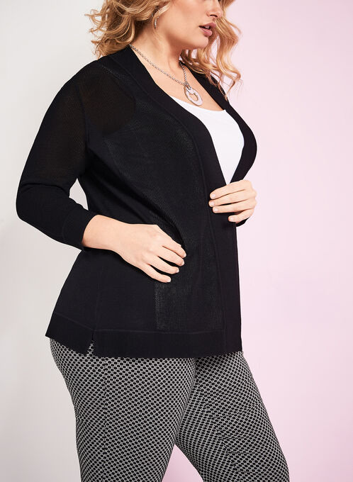 Mesh Knit Open Front Cardigan , Black, hi-res