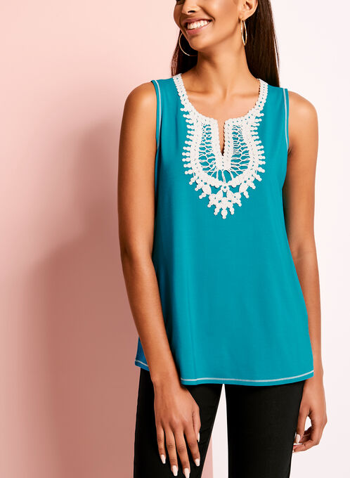 Crochet Trim Scoop Neck Camisole, Blue, hi-res