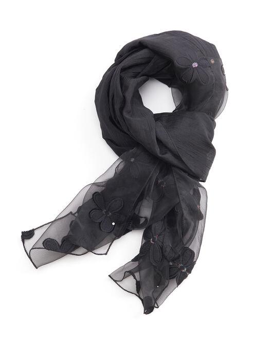 Sheer Floral Evening Wrap, Black, hi-res