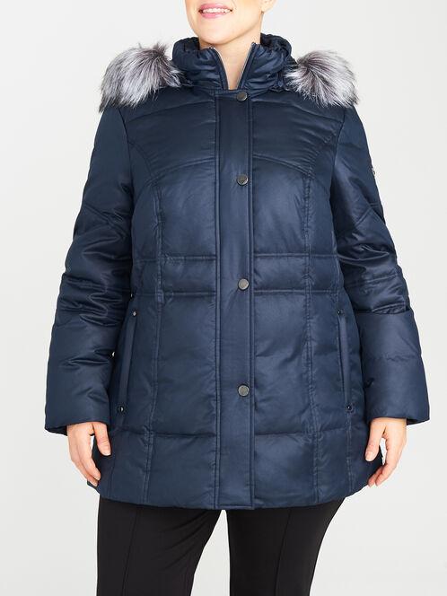 Grid Print Faux Fur Trim Down-Filled Coat, Blue, hi-res