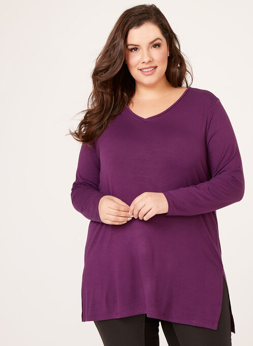 Long Sleeve V-Neck Knit Top, Purple, hi-res