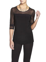 Round Neck Mesh Trim Top, Black, hi-res