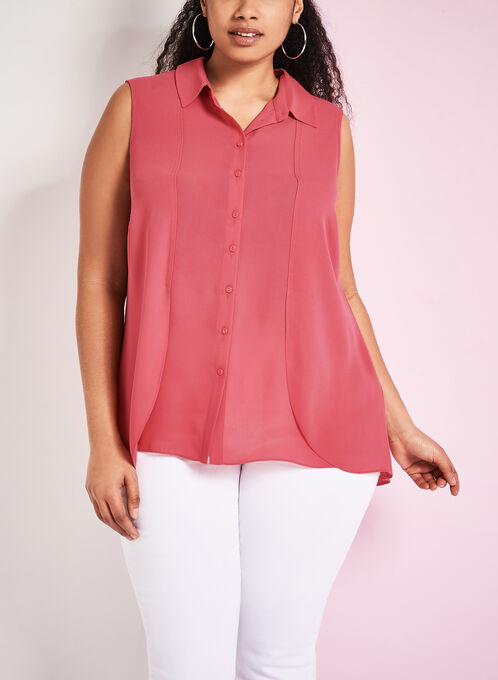 Capelet Back Button Down Blouse, Pink, hi-res