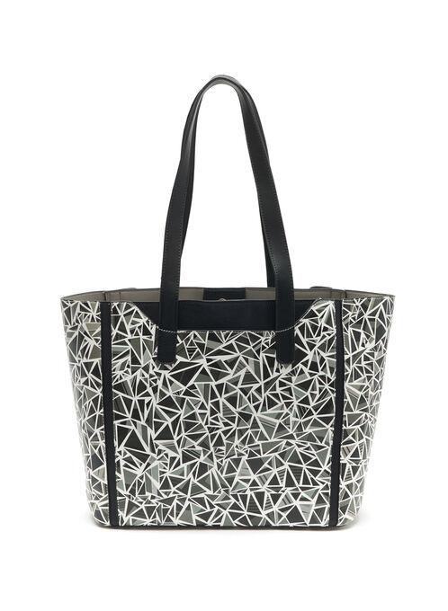 Geometric Print Tote Bag, Black, hi-res