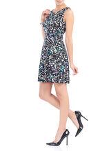 Sleeveless Geo Print Fit & Flare Dress, Black, hi-res