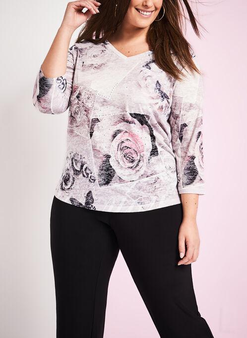 Floral Print & Lace Burnout T-Shirt , Grey, hi-res