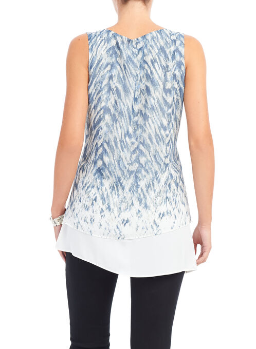 Sleeeveless Printed Tunic Blouse , Blue, hi-res