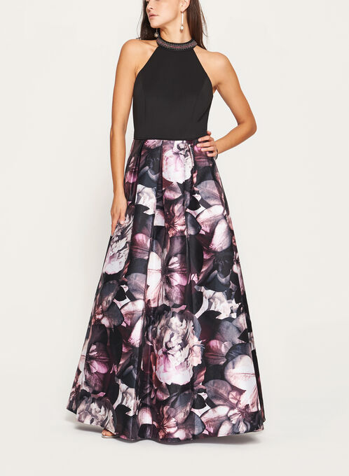 Floral Print Cleo Beaded Neck Gown, Black, hi-res