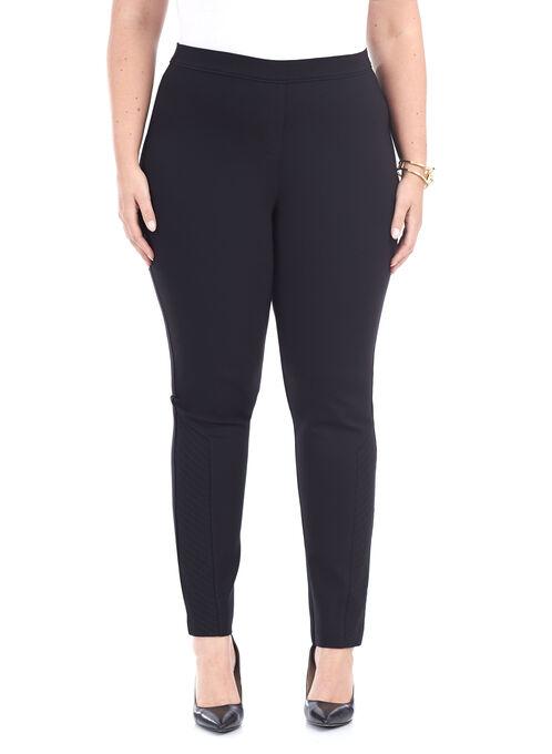 Ponte Pull-On Straight Leg Pants , Black, hi-res