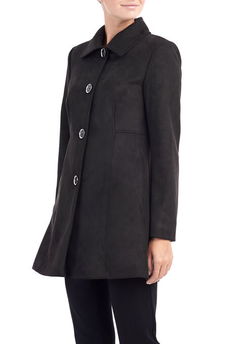 Novelti Faux Suede Notch Collar Jacket, Black, hi-res