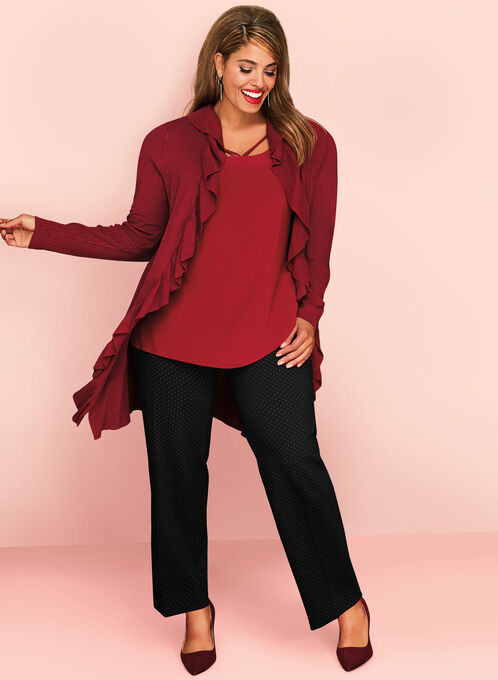 Cascading Ruffle Trim Cardigan, Red, hi-res