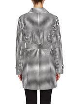 Novelti Grid Print Belted Trench Coat, Black, hi-res