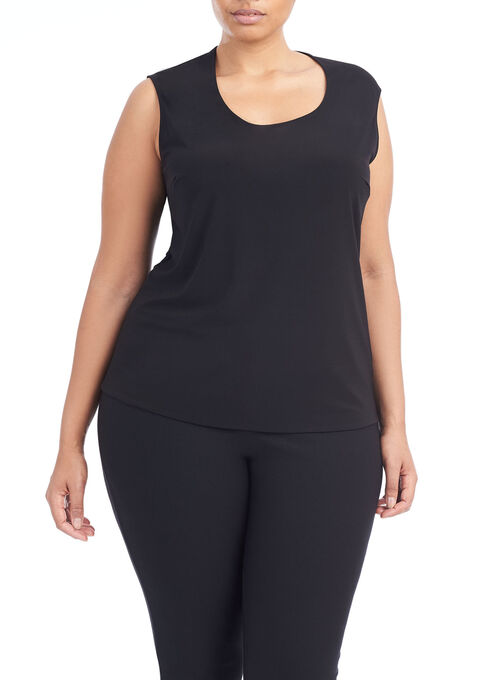 Sleeveless Horseshoe Neck Top, Black, hi-res
