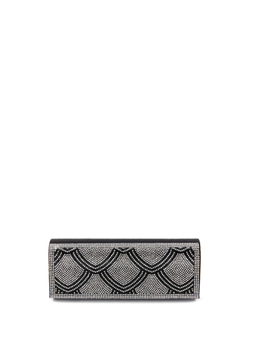 Crystal Embellished Foldover Clutch, Black, hi-res
