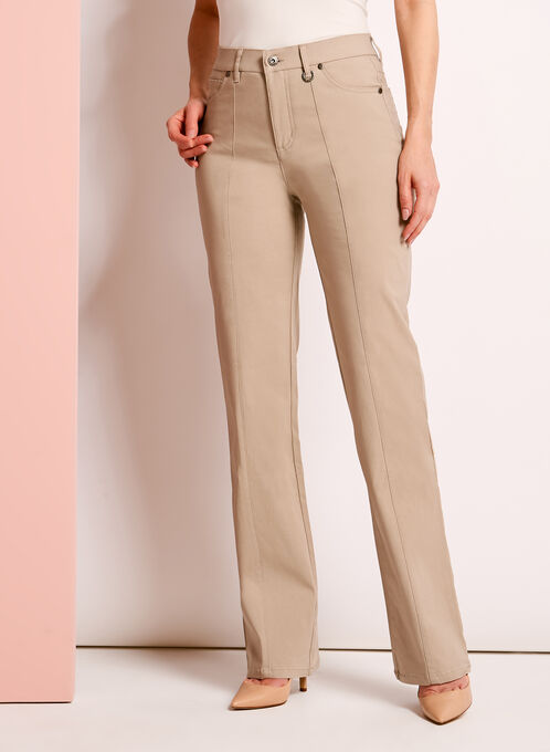 Simon Chang - Straight Leg Microtwill Pants, Off White, hi-res