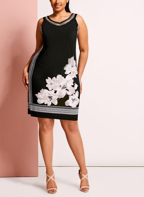 Cleo Neck Embellished Printed Dress, Black, hi-res