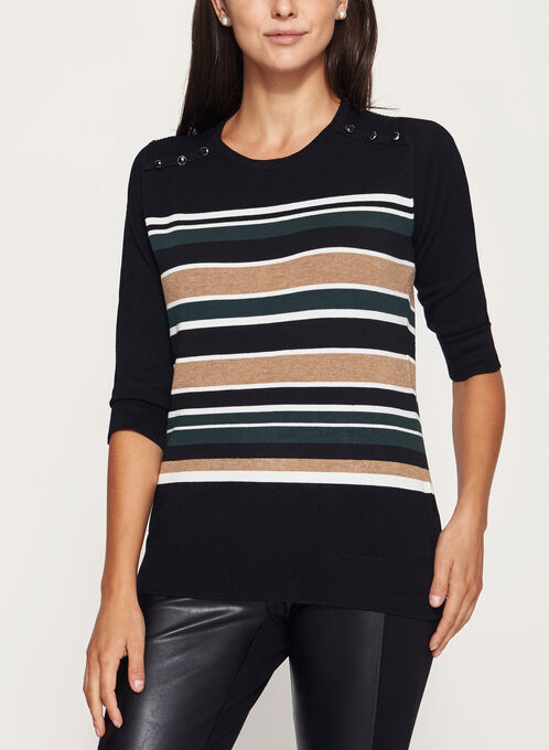 3/4 Sleeve Stripe Print Sweater, Brown, hi-res