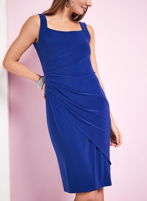 Sleeveless Side Tuck Jersey Dress, Blue, hi-res