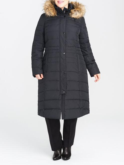 Down-Filled Long Puffer Coat, Black, hi-res