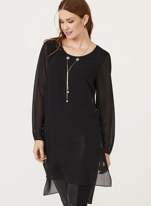High-Low Necklace Embellished Tunic, Black, hi-res