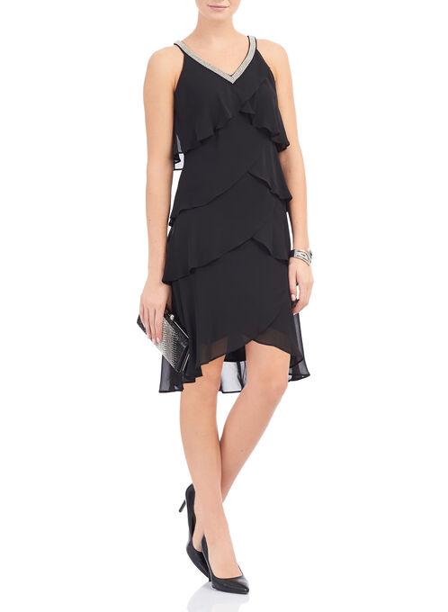 Tiered Chiffon Dress, Black, hi-res