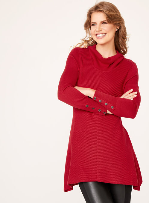 Cowl Neck Mitered Tunic Sweater, Red, hi-res