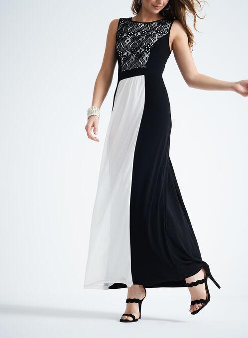 Sleeveless Lace Evening Dress, Black, hi-res