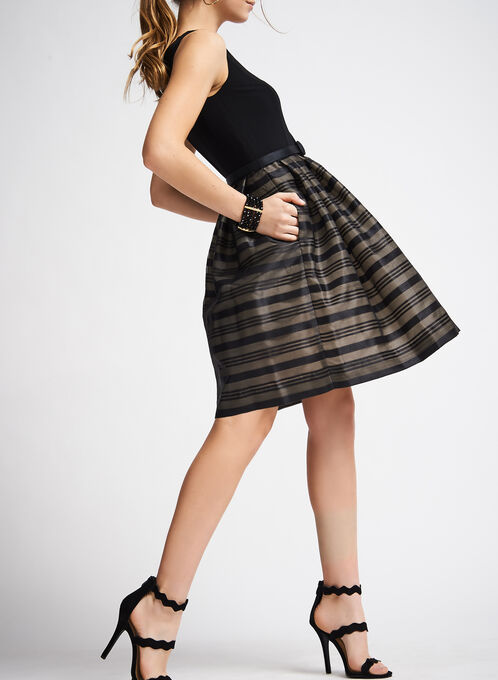 Organza Stripe Dress with Belt, Black, hi-res