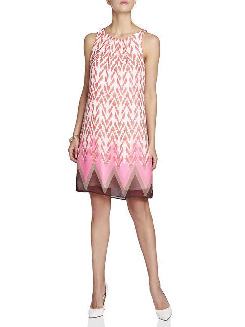 Chiffon Aztec Print Dress, Red, hi-res