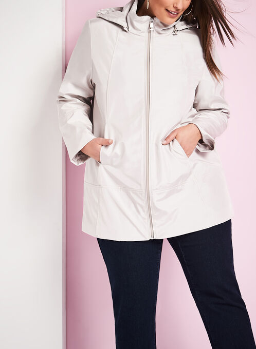 Novelti Iridescent A-Line Coat , Off White, hi-res