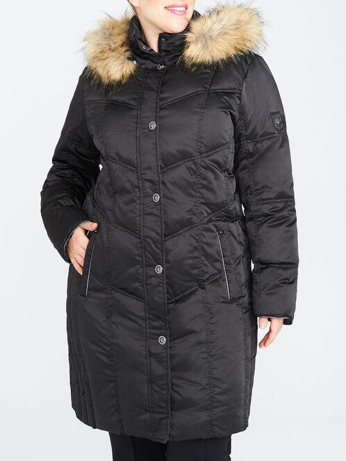 Satin Vertical Quilt Down-Filled Coat, Black, hi-res