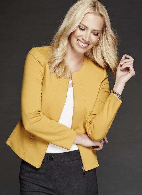 Zipper Trim Ponte Jacket, Yellow, hi-res