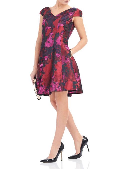 Fit & Flare Floral Dress, Red, hi-res