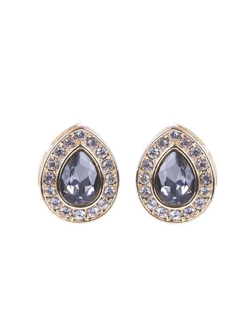 Teardrop Crystal Earrings, Grey, hi-res
