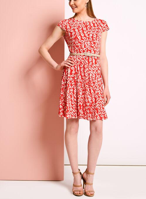 Graphic Print Belted Fit & Flare Dress, Orange, hi-res