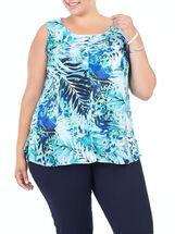 Sleeveless Tropical Print Blouse, Blue, hi-res