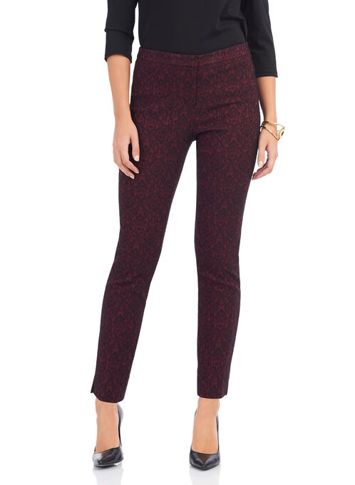 Jacquard 7/8 Pants , Red, hi-res