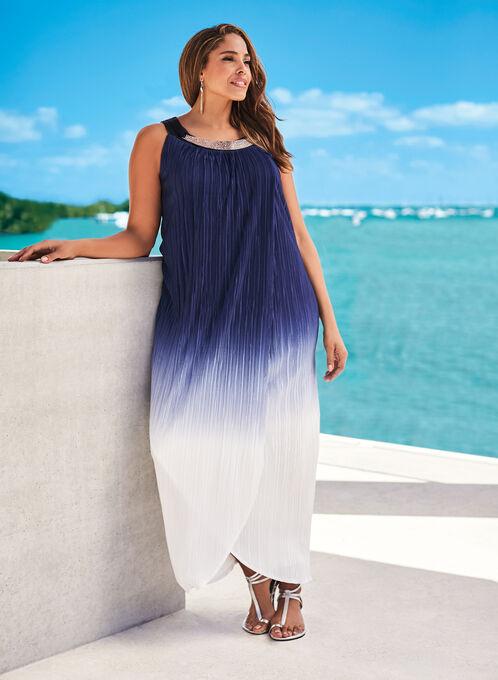 Embellished Ombré Plissé Maxi Dress , Blue, hi-res