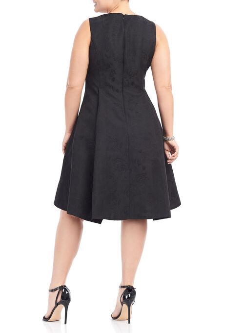 Beaded Neck Fit & Flare Dress, Black, hi-res
