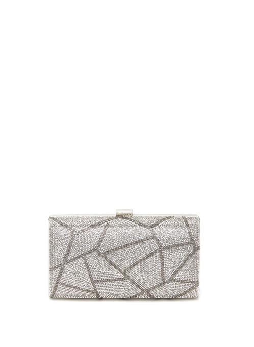Geometric Crystal Clutch, Silver, hi-res
