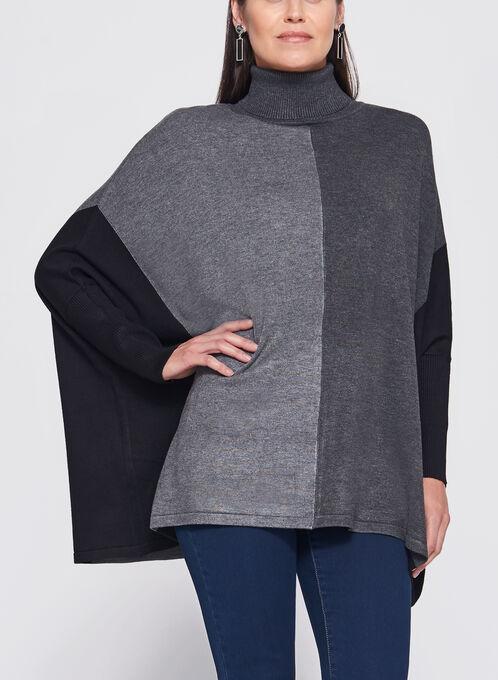 Dolman Sleeve Colour Block Sweater, Grey, hi-res