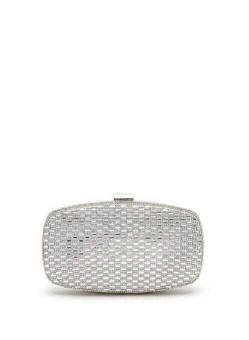 Crystal Embellished Evening Clutch, Silver, hi-res