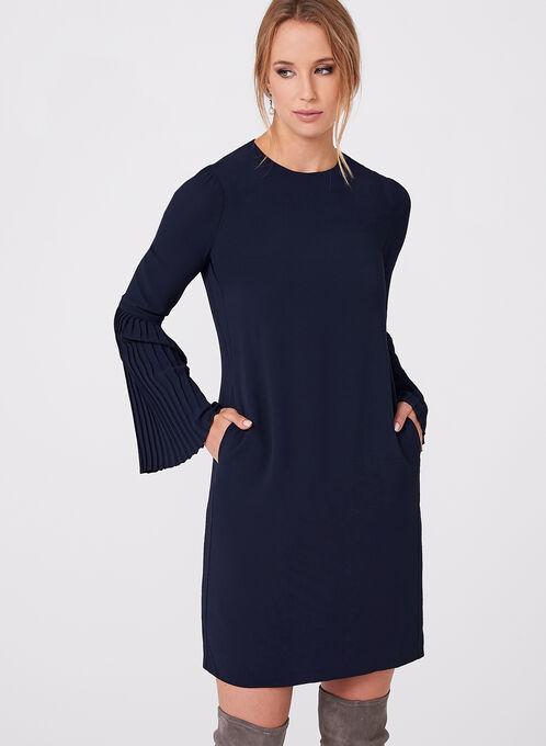 Maggy London - Crepe Bell Sleeve Dress, Blue, hi-res