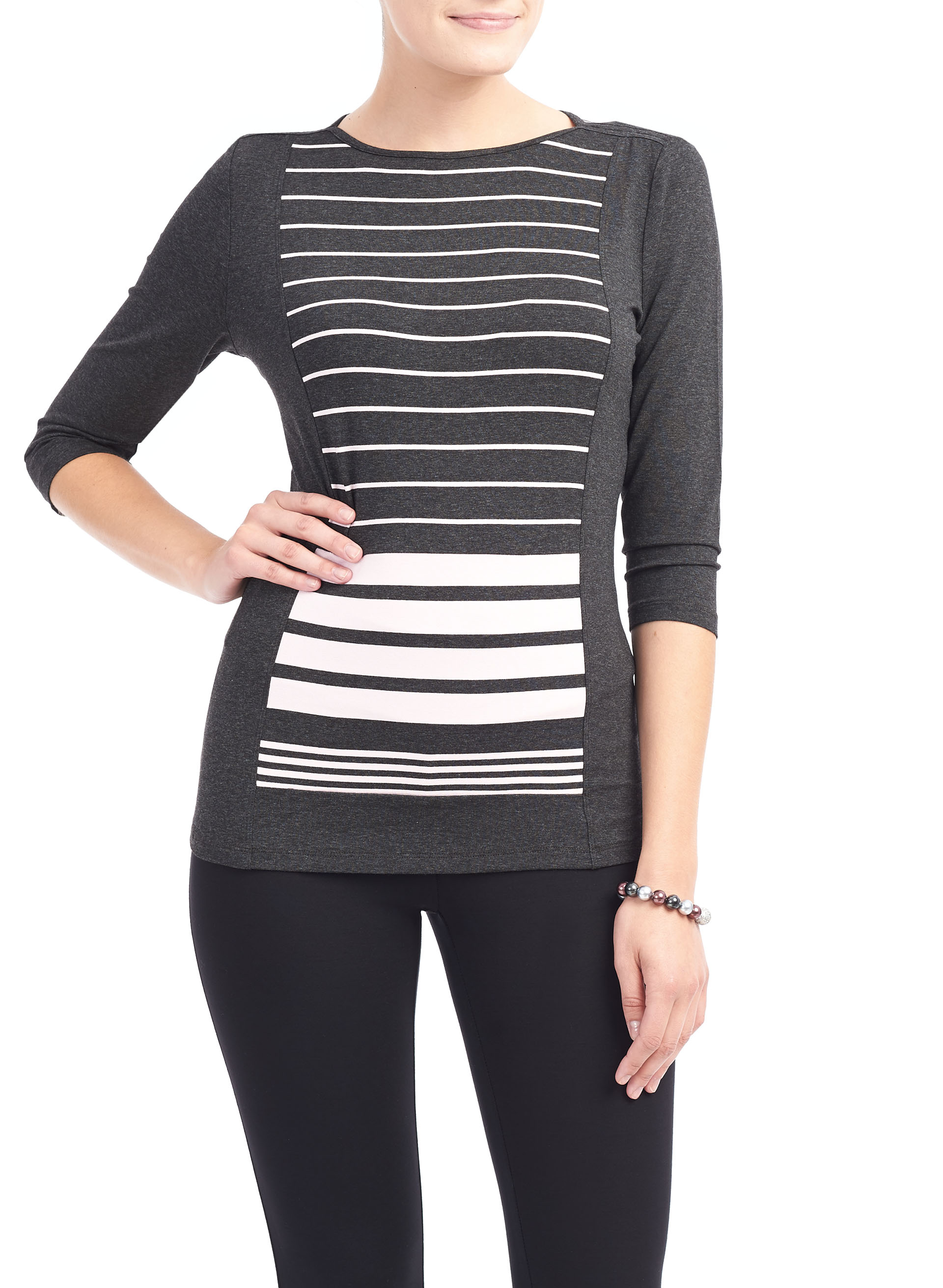 3/4 Sleeve Stripe Print Top, Grey, hi-res