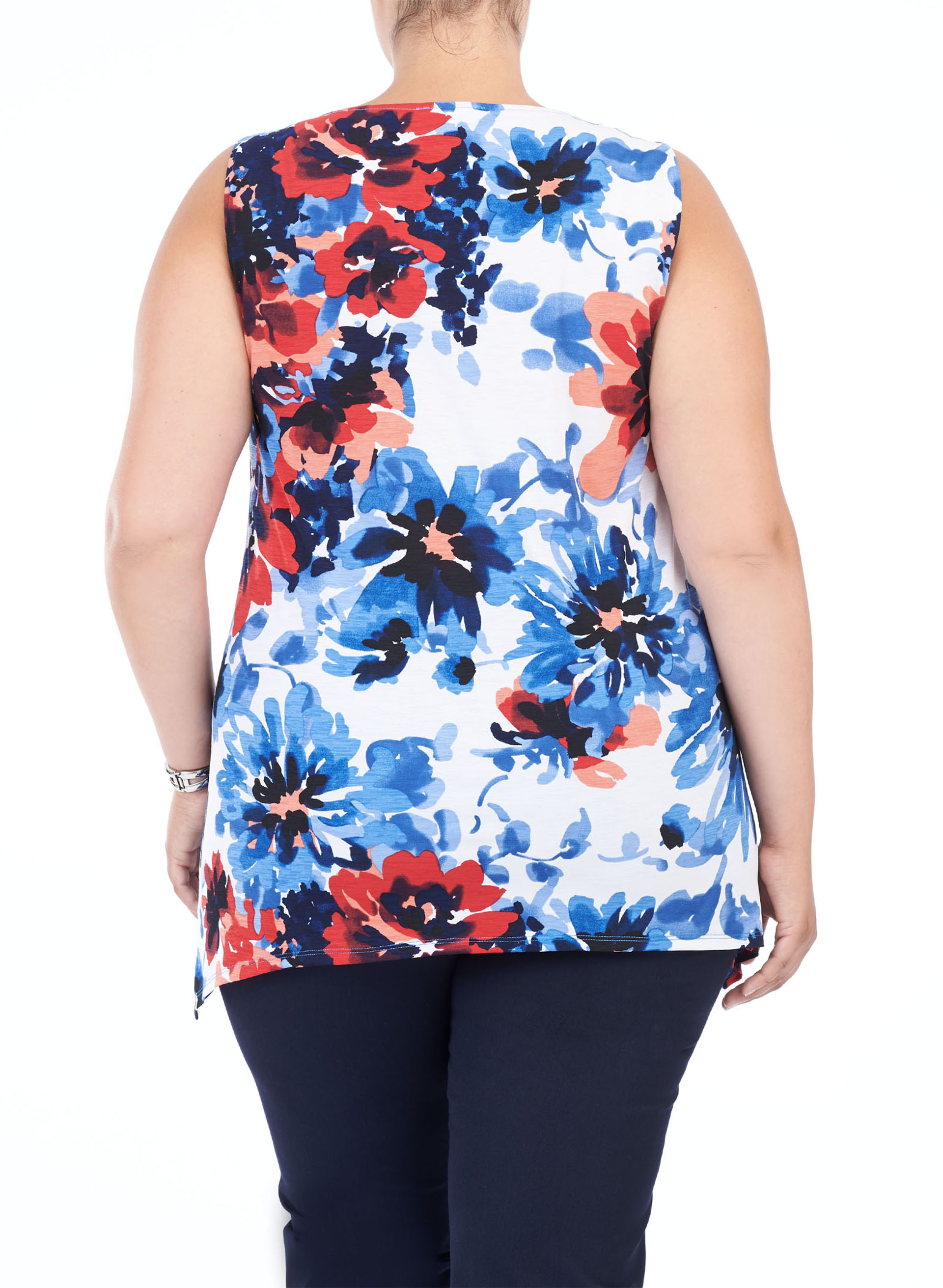 Sleeveless Floral Print Top, White, hi-res